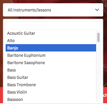 Instruments Dropdown