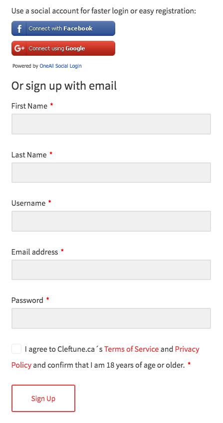 Sign Up Pop Up Form